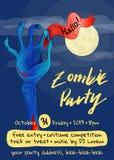 Cartaz do partido do zombi com mão do zombi Imagem de Stock Royalty Free
