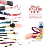 Cartaz do projeto da composição da beleza dos cosméticos ilustração stock