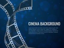 Cartaz do rolo da tira do filme Produção do filme com quadros e texto de filme negativo vazios realísticos Fundo do cinema do vet ilustração do vetor