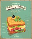 Cartaz do sanduíche no estilo do vintage ilustração do vetor