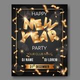 Cartaz do texto do vetor 3d do ano novo no fundo preto com letras 3D douradas ilustração do vetor