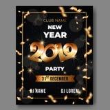 Cartaz do texto do vetor 3d do ano novo no fundo preto com 3D números dourados 2019 ilustração stock