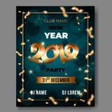 Cartaz do texto do vetor 3d do ano novo no fundo verde com 3D números dourados 2019 ilustração royalty free