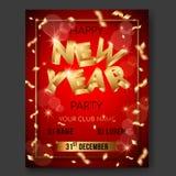 Cartaz do texto do vetor 3d do ano novo no fundo vermelho com letras 3D douradas ilustração stock