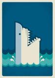 Cartaz do tubarão Ilustração do fundo do vetor Fotografia de Stock Royalty Free