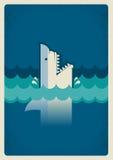 Cartaz do tubarão Ilustração do fundo do vetor para o texto Fotos de Stock