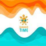Cartaz do verão, com sol engraçado Imagem de Stock Royalty Free