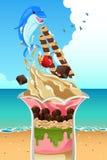 Cartaz do verão da sundae do gelado Fotografia de Stock Royalty Free