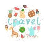 Cartaz do verão do divertimento Cartões com animais bonitos, frutos etc. ilustração do vetor