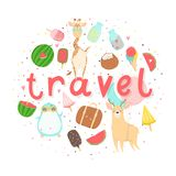 Cartaz do verão do divertimento Cartões com animais bonitos, frutos etc. ilustração royalty free