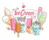 Cartaz do verão do vetor do gelado do fruto do esboço do vintage ilustração royalty free