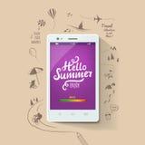 Cartaz do verão Olá! verão, inscrição tipográfica no smartphone branco Ilustração do vetor ilustração stock