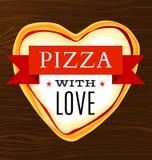 Cartaz do vetor com uma pizza coração-dada forma Imagens de Stock Royalty Free