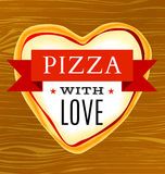 Cartaz do vetor com uma pizza coração-dada forma Imagem de Stock Royalty Free