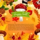 Cartaz do vetor do cogumelo e da folha da queda de Autumn Happy Fotos de Stock