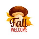 Cartaz do vetor do outono do cogumelo e da folha da queda Fotografia de Stock Royalty Free