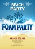 Cartaz do vetor do partido da espuma do verão Convite tropical da praia do recurso com bolhas de sabão ilustração do vetor