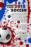 Cartaz do vetor do futebol do jogo do esporte do copo 2018 do futebol Foto de Stock Royalty Free