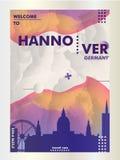 Cartaz do vetor do inclinação da cidade da skyline de Alemanha Hannover Foto de Stock