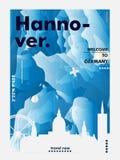 Cartaz do vetor do inclinação da cidade da skyline de Alemanha Hannover Fotos de Stock