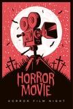 Cartaz do vetor para a noite do filme de terror, filme de terror ilustração do vetor