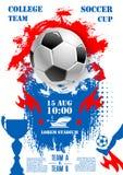 Cartaz do vetor para o copo do campeonato do futebol do futebol Imagens de Stock