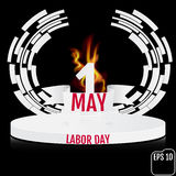 Cartaz do vintage, bandeira ou projeto do inseto para a sagacidade do Dia do Trabalhador do 1º de maio Fotografia de Stock Royalty Free