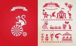 Cartaz do vintage com carnaval, feira de divertimento, circo Imagens de Stock Royalty Free