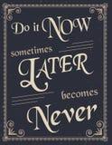 Cartaz do vintage com citações da motivação ilustração royalty free