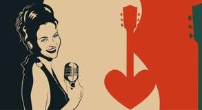 Cartaz do vintage com o cantor retro da mulher Vestido vermelho na mulher Microfone retro O jazz, a alma e a música ao vivo dos a Imagem de Stock Royalty Free