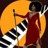 Cartaz do vintage com o cantor retro da mulher Vestido vermelho na mulher Microfone retro O jazz, a alma e a música ao vivo dos a Imagens de Stock Royalty Free