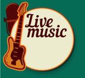 Cartaz do vintage com o cantor retro da mulher Vestido vermelho na mulher Microfone retro O jazz, a alma e a música ao vivo dos a Imagem de Stock