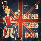 Cartaz do vintage com o cavalheiro inglês no fundo do grunge Ilustração retro no estilo do esboço 'eu amo Lond Fotografia de Stock