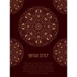 Cartaz do vintage com os ornamento redondos orientais e lugar para o texto Foto de Stock Royalty Free
