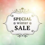 Cartaz do vintage da venda especial do inverno Foto de Stock