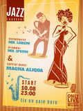 Cartaz do vintage do festival de música jazz Foto de Stock Royalty Free