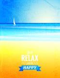 Cartaz do vintage do vetor com paisagem do mar Imagem de Stock