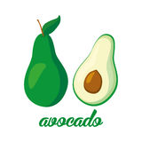 Cartaz dos frutos de abacate no estilo dos desenhos animados descrição inteira e metade Suculento fresco ao incluir branco do fun Imagens de Stock