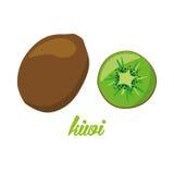 Cartaz dos frutos de quivi no estilo dos desenhos animados descrição inteira e metade Suculento fresco ao incluir branco do fundo Imagem de Stock Royalty Free