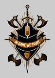 Cartaz dos Gamers Jogo do vídeo e de computadores Sinal do vintage com as armas do rato e da fantasia Fotos de Stock