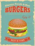 Cartaz dos hamburgueres do vintage Fotos de Stock Royalty Free