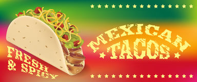 Cartaz dos tacos ou molde mexicano da bandeira Imagem de Stock