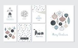 Cartaz e cartões do Natal no estilo retro Bolas do Natal nas cores pastel, na paisagem do inverno e em casas confortáveis ilustração do vetor