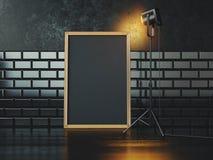 Cartaz e lâmpada pretos rendição 3d Fotos de Stock Royalty Free