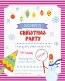 Cartaz engraçado da festa de Natal com decorações Imagens de Stock