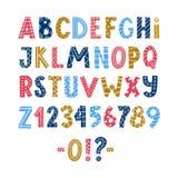 Cartaz escandinavo colorido engraçado do alfabeto latin ilustração stock