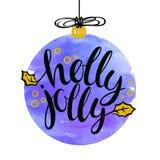 Cartaz escrito mão de Holly Jolly ilustração stock