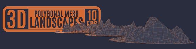 Cartaz escuro com as montanhas da laranja do computador Imagem de Stock