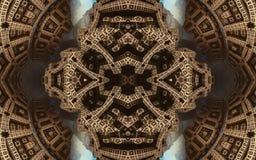 Cartaz fantástico abstrato épico ou fundo Ideia futurista do interior do fractal Teste padrão no formulário das setas imagem de stock royalty free