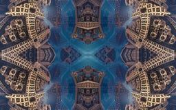 Cartaz fantástico abstrato épico ou fundo Ideia futurista do interior do fractal Teste padrão no formulário das setas Fotos de Stock